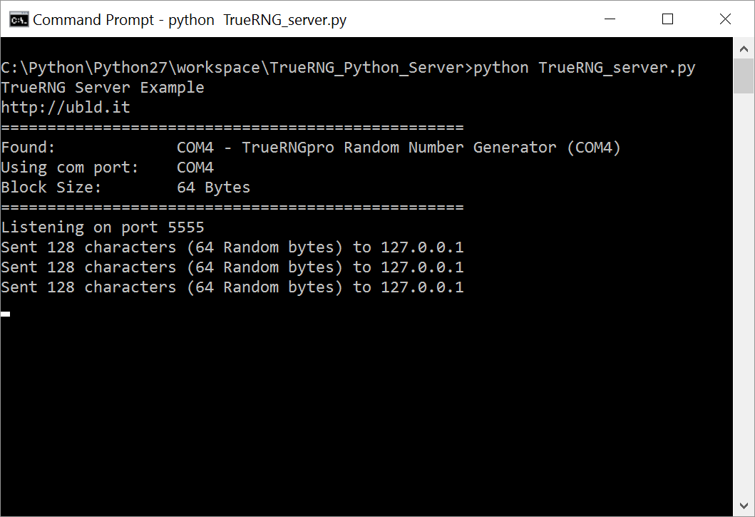 Screenshot of Windows 10 Python server
