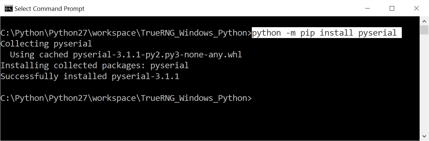 Screenshot of Windows 10 Python pyserial install